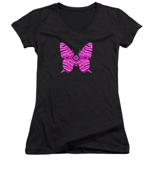 Hot Pink Butterfly Women's V-Neck