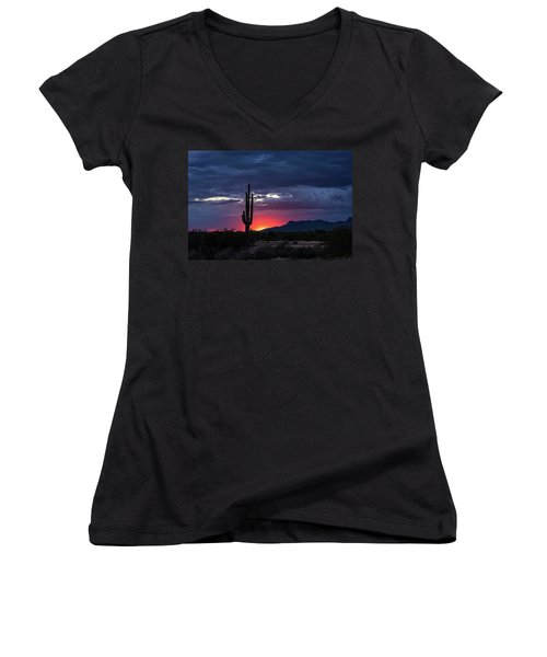 Women's V-Neck T-Shirt featuring the photograph Hot Pink Saguaro Sunset  by Saija Lehtonen