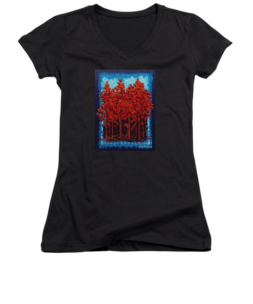 Women's V-Neck T-Shirt (Junior Cut) featuring the painting Hot Reds by Holly Carmichael