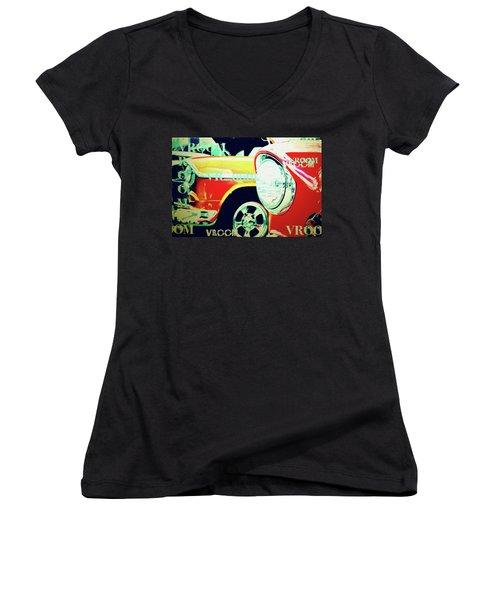 Hot Rods Go Vroom Vroom Women's V-Neck T-Shirt (Junior Cut) by Toni Hopper