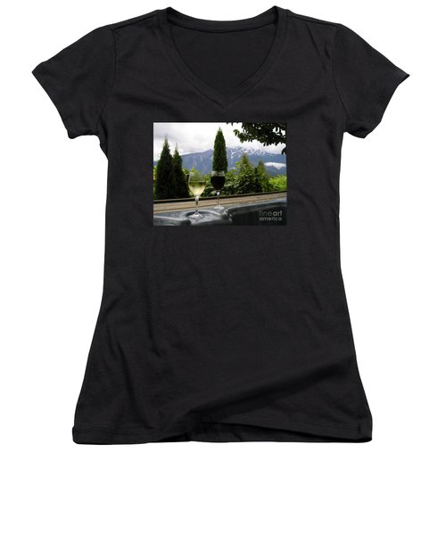Hot Tub And Wine Women's V-Neck T-Shirt (Junior Cut) by Robert Meanor