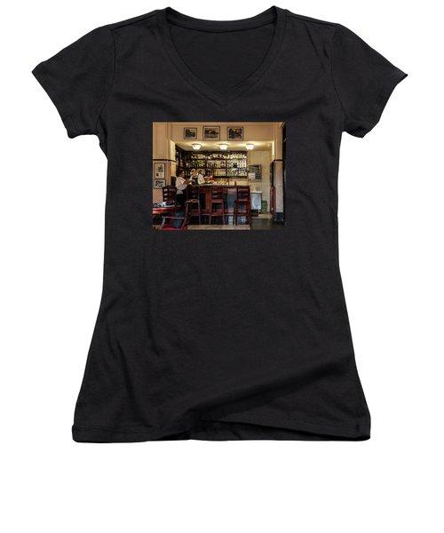 Women's V-Neck T-Shirt (Junior Cut) featuring the photograph Hotel Presidente Bar Havana Cuba by Charles Harden