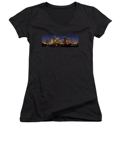 Houston Skyline At Night Women's V-Neck T-Shirt
