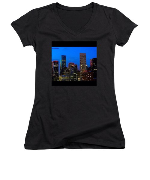 #houston #skyline At #night. #lights Women's V-Neck T-Shirt (Junior Cut)