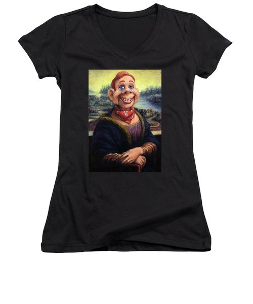Women's V-Neck T-Shirt (Junior Cut) featuring the painting Howdy Doovinci by James W Johnson