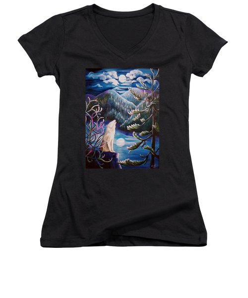 Women's V-Neck T-Shirt (Junior Cut) featuring the painting Howlin' The Blues by Renate Nadi Wesley