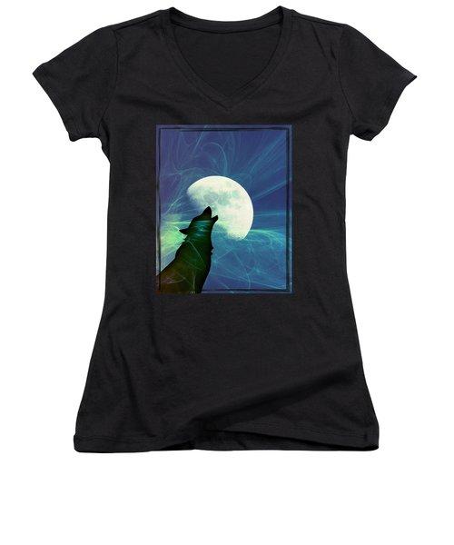 Howling Moon Women's V-Neck T-Shirt (Junior Cut)