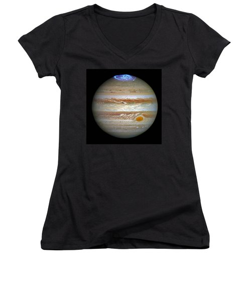 Women's V-Neck T-Shirt (Junior Cut) featuring the photograph Hubble Captures Vivid Auroras In Jupiter's Atmosphere by Nasa