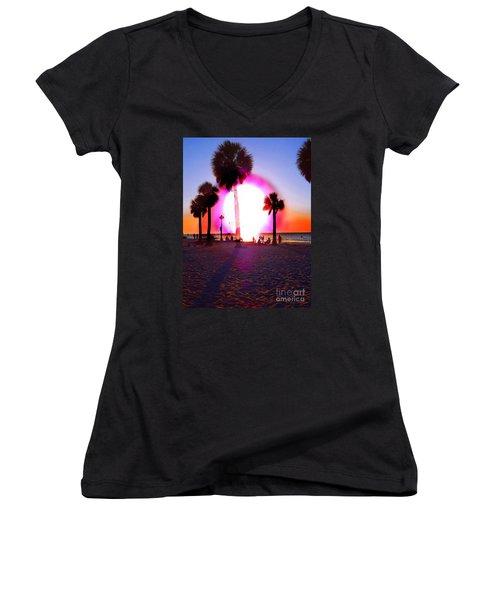 Huge Sun Pine Island Sunset  Women's V-Neck T-Shirt (Junior Cut) by Expressionistart studio Priscilla Batzell