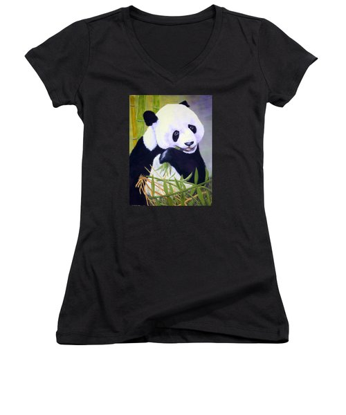 Women's V-Neck T-Shirt (Junior Cut) featuring the painting Hungry Panda by Nancy Jolley