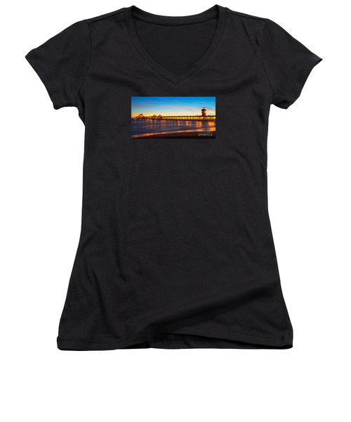 Huntington Beach Pier - Twilight Women's V-Neck T-Shirt