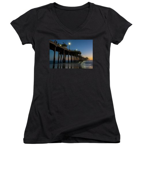 Huntington Beach Pier At Dusk Women's V-Neck