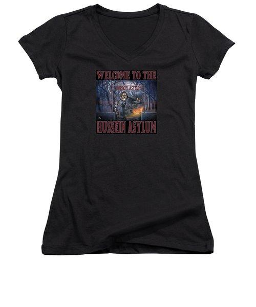 Women's V-Neck T-Shirt (Junior Cut) featuring the photograph Hussein Assylum by Don Olea