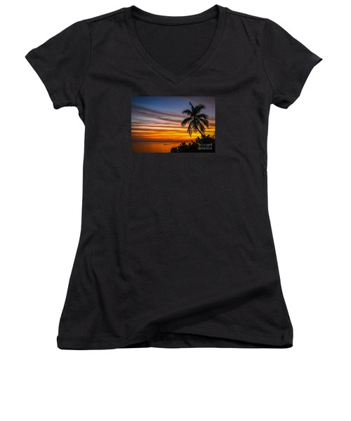 Hutchinson Island Sunrise #1 Women's V-Neck T-Shirt (Junior Cut) by Tom Claud