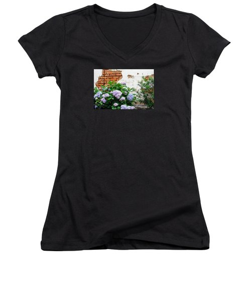 Hydrangea And Bricks Women's V-Neck T-Shirt (Junior Cut) by Menachem Ganon