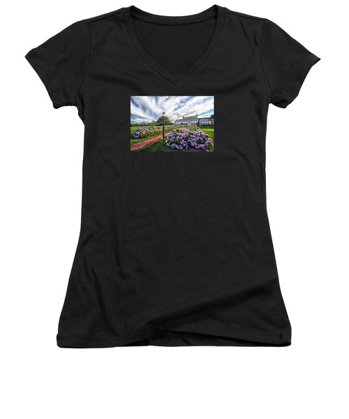 Women's V-Neck T-Shirt (Junior Cut) featuring the photograph Hydrangea Walk House by Constantine Gregory