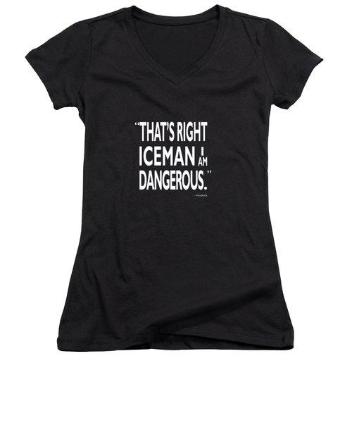 I Am Dangerous Women's V-Neck T-Shirt (Junior Cut) by Mark Rogan