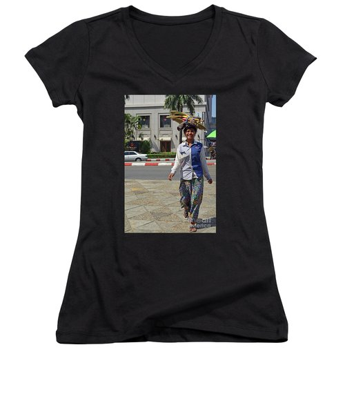 Women's V-Neck T-Shirt (Junior Cut) featuring the digital art I Can Balance by Eva Kaufman