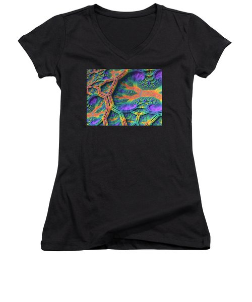 Women's V-Neck T-Shirt (Junior Cut) featuring the digital art I Don't Do Drugs, Just Fractals by Lyle Hatch