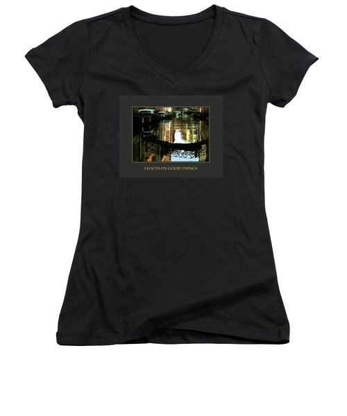 Women's V-Neck T-Shirt (Junior Cut) featuring the photograph I Focus On Good Things Venice by Donna Corless