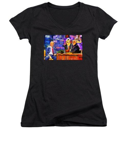 I Like To Paint Dogs Too - Da Women's V-Neck T-Shirt (Junior Cut) by Leonardo Digenio