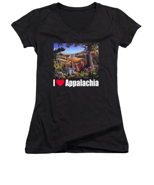 I Love Appalachia T Shirt - Coon Gap Holler 2 - Country Farm Landscape Women's V-Neck T-Shirt (Junior Cut) by Walt Curlee