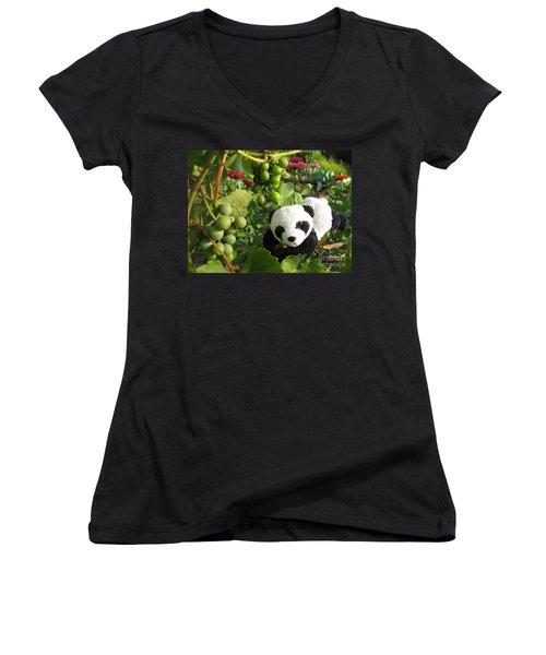 Women's V-Neck T-Shirt (Junior Cut) featuring the photograph I Love Grapes B by Ausra Huntington nee Paulauskaite