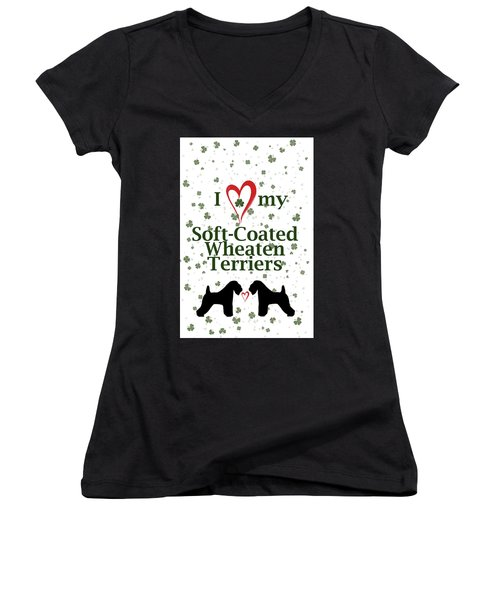 I Love My Soft Coated Wheaten Terriers Women's V-Neck T-Shirt (Junior Cut) by Rebecca Cozart