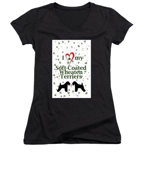 I Love My Soft Coated Wheaten Terriers Women's V-Neck T-Shirt