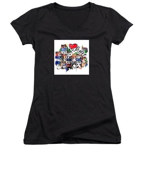 I Love Vienna  Women's V-Neck T-Shirt (Junior Cut) by Sladjana Lazarevic