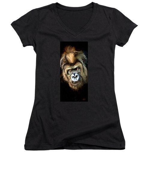 Gorilla Portrait Women's V-Neck T-Shirt (Junior Cut) by James Shepherd