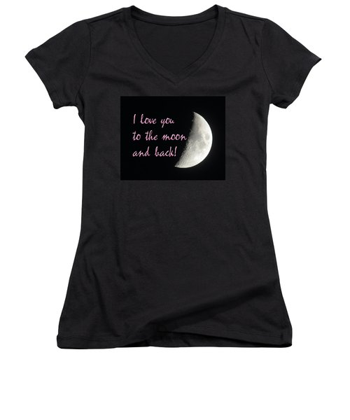 I Love You To The Moon Pink Women's V-Neck (Athletic Fit)