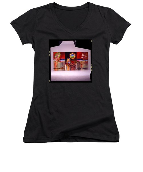 Women's V-Neck T-Shirt (Junior Cut) featuring the painting I Saw The Figure Five In Gold by Charles Stuart