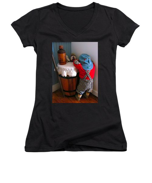 Women's V-Neck T-Shirt (Junior Cut) featuring the painting I Shouldn't Have Done It by Lanjee Chee