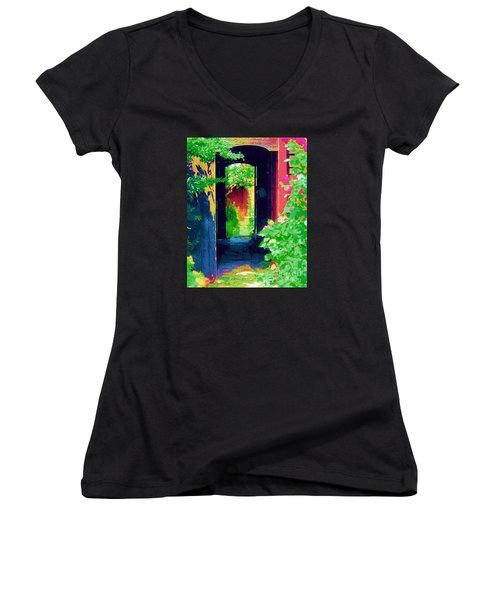 I Stand At The Door And Knock Women's V-Neck T-Shirt (Junior Cut) by Diane E Berry