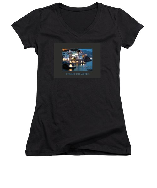 Women's V-Neck T-Shirt (Junior Cut) featuring the photograph I Travel The World Amalfi by Donna Corless