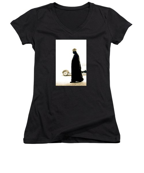 I Try To Be Positive  Women's V-Neck T-Shirt (Junior Cut) by Jez C Self