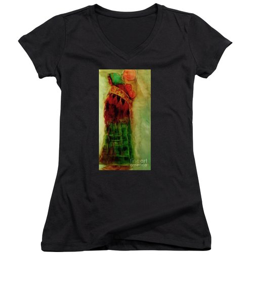 Women's V-Neck T-Shirt (Junior Cut) featuring the painting I Walk by FeatherStone Studio Julie A Miller