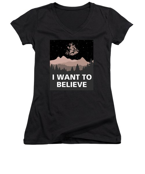 Women's V-Neck T-Shirt (Junior Cut) featuring the digital art I Want To Believe by Gina Dsgn