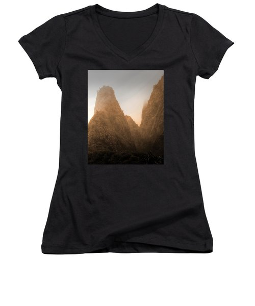 Iao Needle In Sepia Women's V-Neck (Athletic Fit)