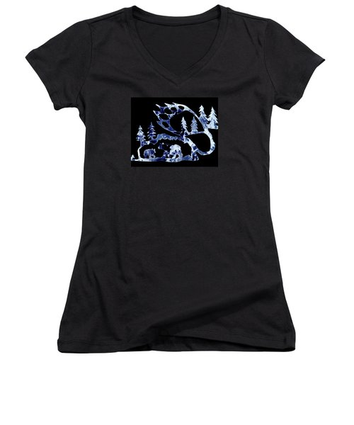 Ice Bears 1 Women's V-Neck T-Shirt (Junior Cut) by Larry Campbell