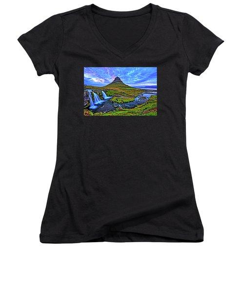 Women's V-Neck T-Shirt (Junior Cut) featuring the photograph Ice Falls by Scott Mahon