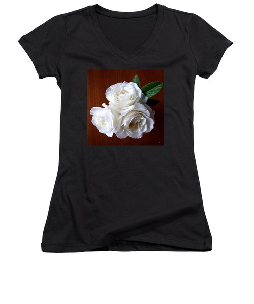 Iceberg Rose Trio Women's V-Neck T-Shirt (Junior Cut) by Will Borden