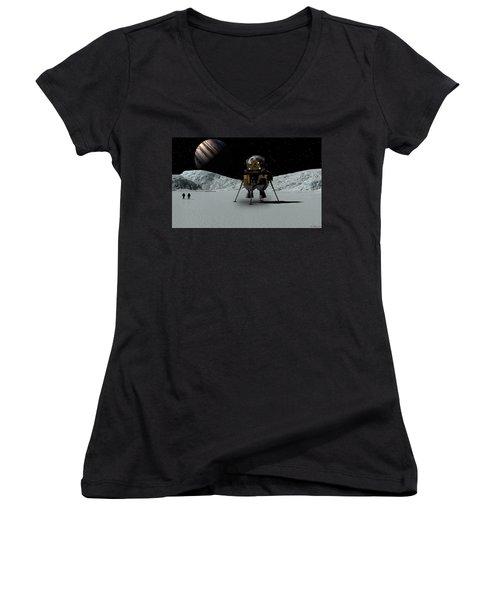 Women's V-Neck T-Shirt (Junior Cut) featuring the digital art Icefield Landing by David Robinson
