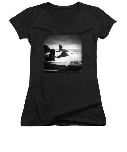 Iceland Dritvik Beach And Cliffs Dramatic Black And White Women's V-Neck (Athletic Fit)