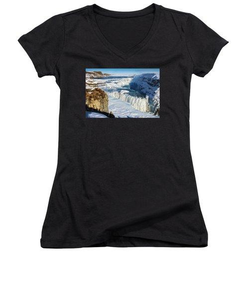 Iceland Gullfoss Waterfall In Winter With Snow Women's V-Neck T-Shirt (Junior Cut) by Matthias Hauser