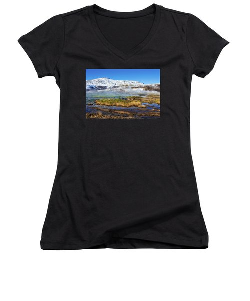 Iceland Landscape Geothermal Area Haukadalur Women's V-Neck T-Shirt (Junior Cut) by Matthias Hauser