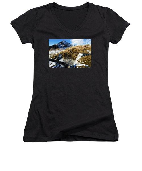 Iceland Landscape With Skogafoss Waterfall Women's V-Neck T-Shirt (Junior Cut) by Matthias Hauser