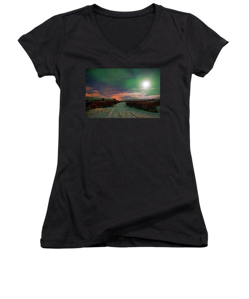 Women's V-Neck T-Shirt featuring the photograph Iceland's Landscape At Night by Dubi Roman