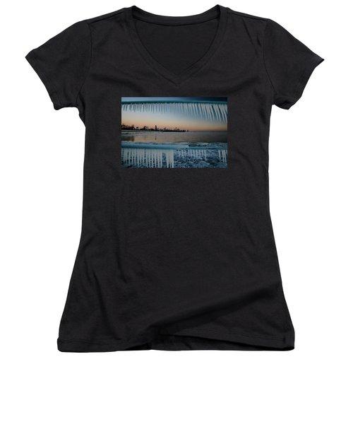 Icicles And Chicago Skyline Women's V-Neck